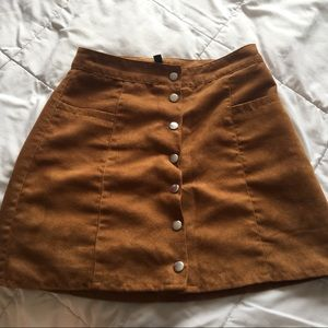 Tan suede button skirt